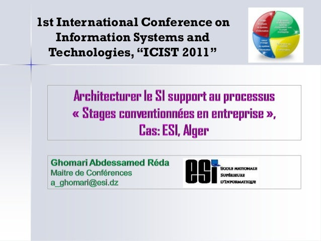 """1st International Conference on Information Systems and Technologies,""""ICIST 2011"""""""