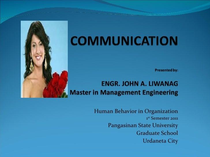 Human Behavior in Organization 1 st  Semester 2011 Pangasinan State University Graduate School Urdaneta City
