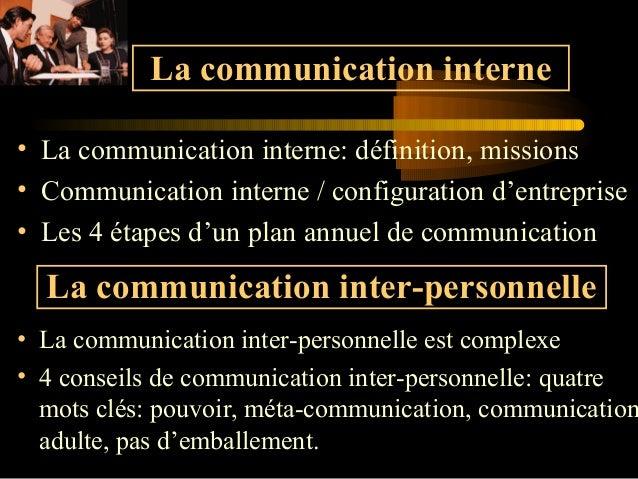 La communication interne • La communication interne: définition, missions • Communication interne / configuration d'entrep...