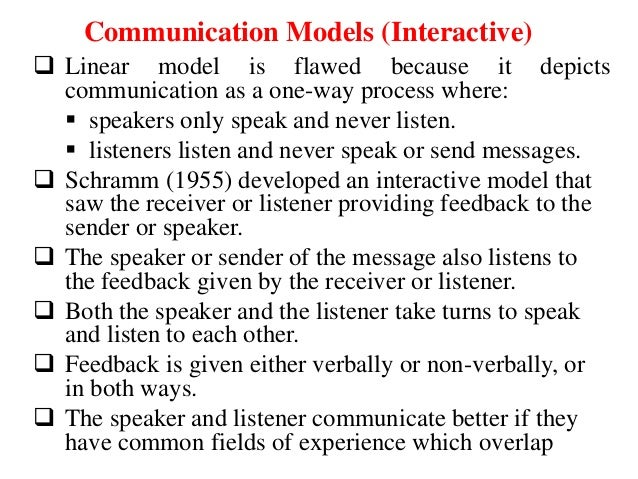 linear model of communication essay Models of communication  linear models  there would still remain an intelligible—although somewhat peculiar—essay similarly, if one-half of the words of .