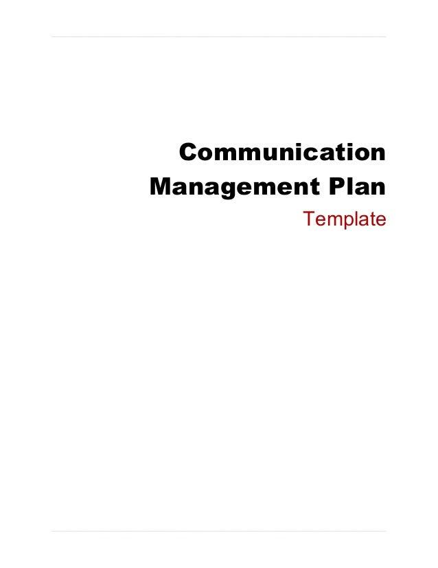 CommunicationManagement Plan         Template