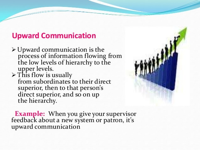 the hierarchy in the flow of communication Downward communication occurs when information and messages flow down through an organization's formal chain of command or hierarchical structure in other words, messages and orders start at the upper levels of the organizational hierarchy and move down toward the bottom levels.
