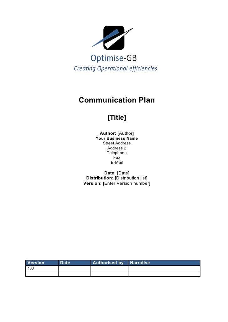 Communications plan - Project Management template