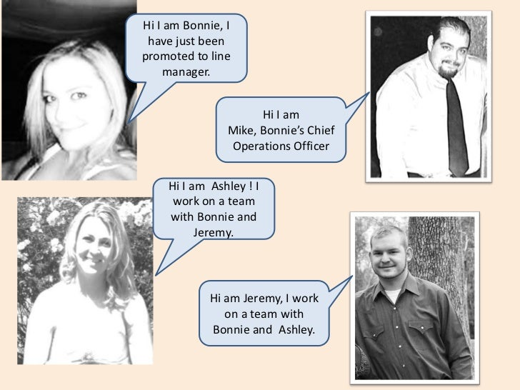 Hi I am Bonnie, I have just been promoted to line manager.<br />Hi I am Mike, Bonnie's Chief Operations Officer<br />Hi I ...