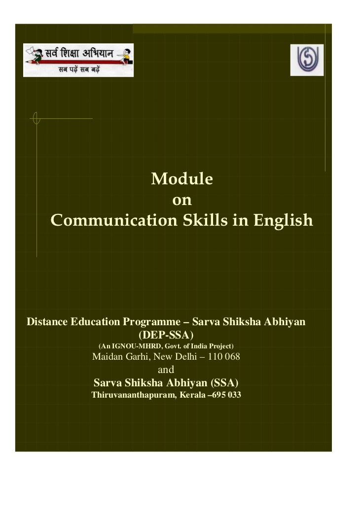 Module                on    Communication Skills in EnglishDistance Education Programme – Sarva Shiksha Abhiyan           ...