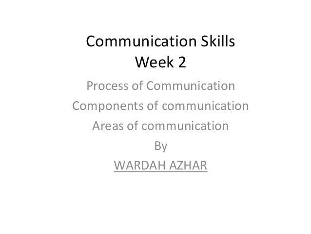 Communication Skills      Week 2  Process of CommunicationComponents of communication   Areas of communication            ...