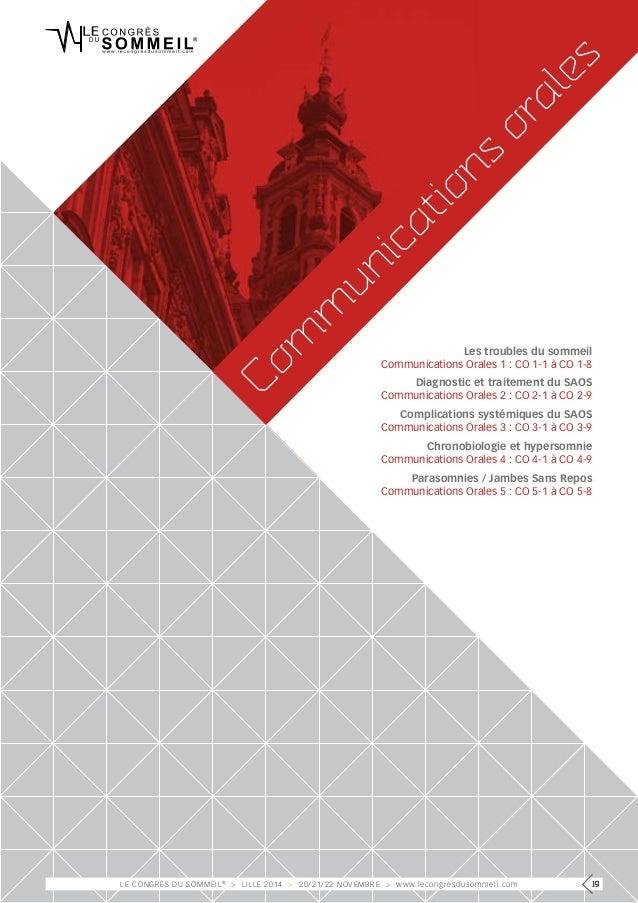 orales  Communications Les troubles du sommeil  Communications Orales 1 : CO 1-1 à CO 1-8  Diagnostic et traitement du SAO...