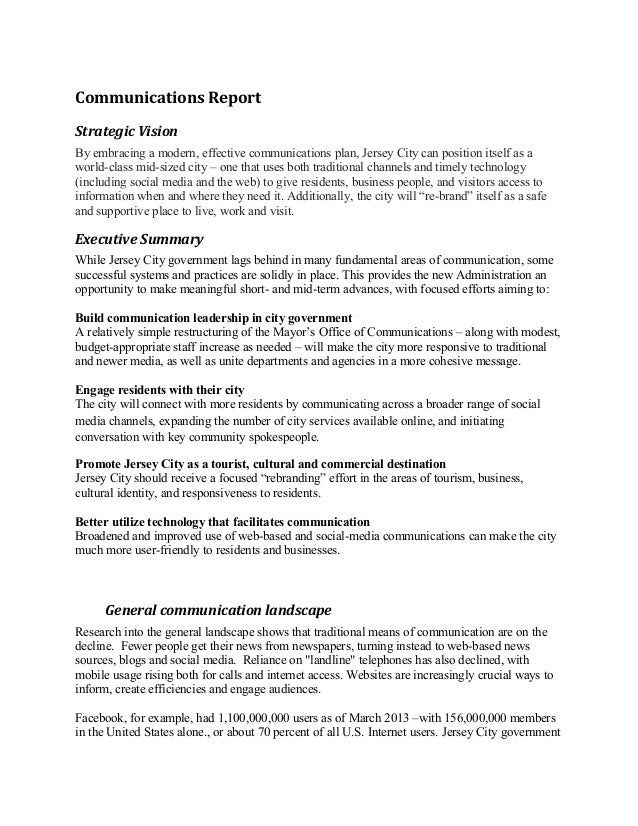 Communications Report Strategic Vision By embracing a modern, effective communications plan, Jersey City can position itse...