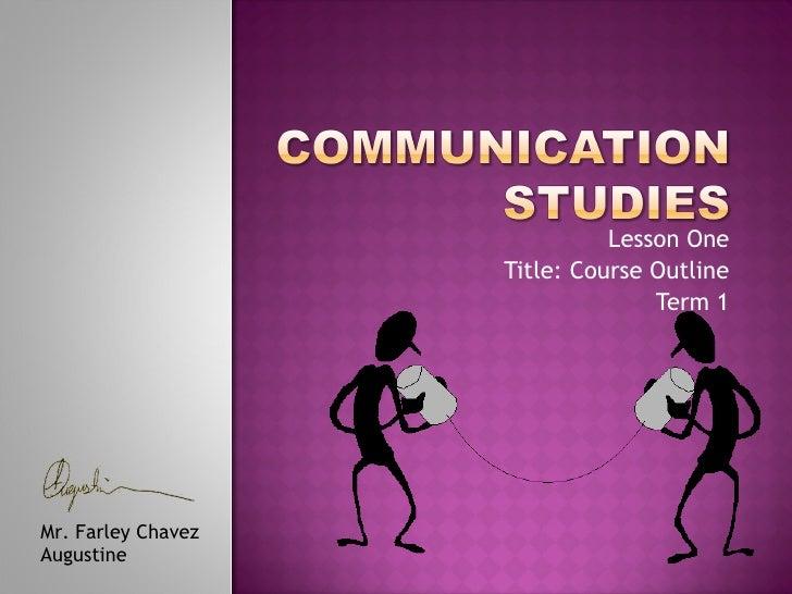 Communication studies lecture 1