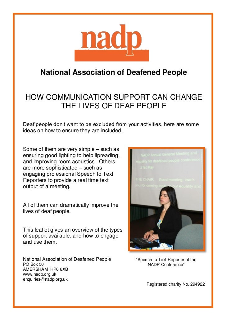 Communication support for deaf people
