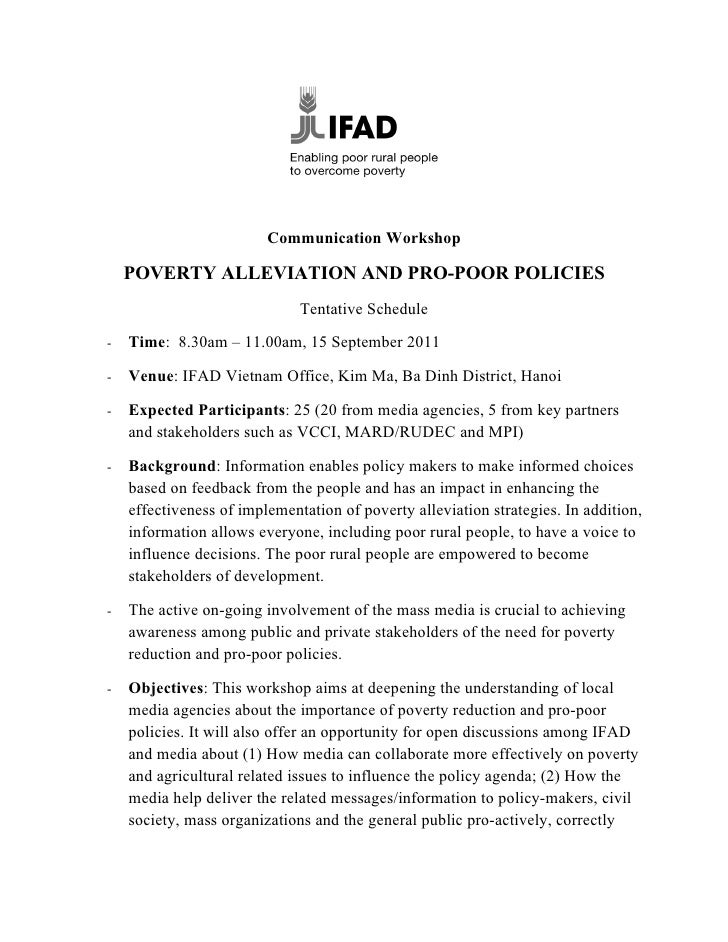 Communication Workshop    POVERTY ALLEVIATION AND PRO-POOR POLICIES                              Tentative Schedule-   Tim...