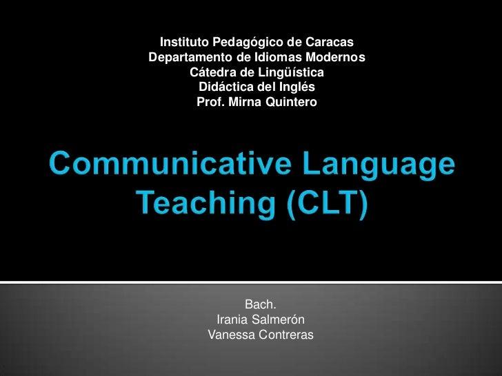 Instituto Pedagógico de CaracasDepartamento de Idiomas Modernos       Cátedra de Lingüística        Didáctica del Inglés  ...