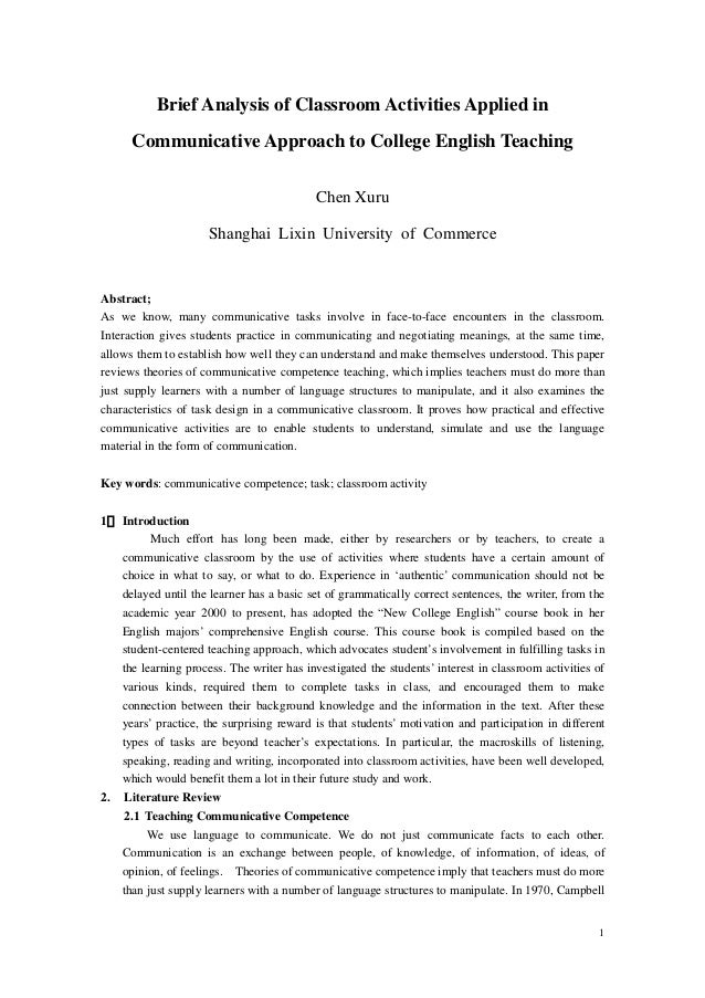 Brief Analysis of Classroom Activities Applied in      Communicative Approach to College English Teaching                 ...