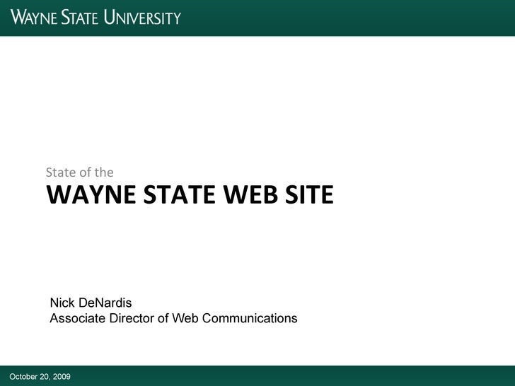 State of the Wayne State Web Site