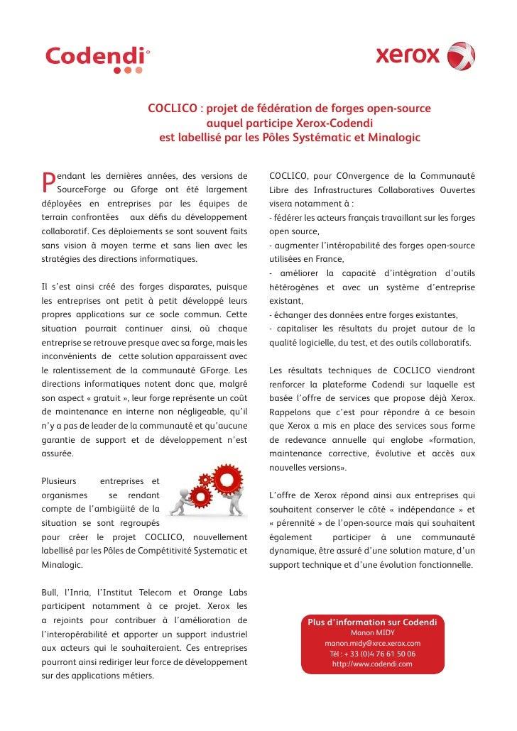 COCLICO : projet de fédération de forges open-source                                       auquel participe Xerox-Codendi ...