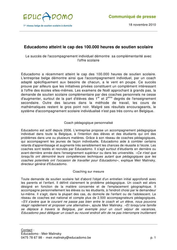 Communiqué de presse                                                                          18 novembre 2010  Educadomo ...