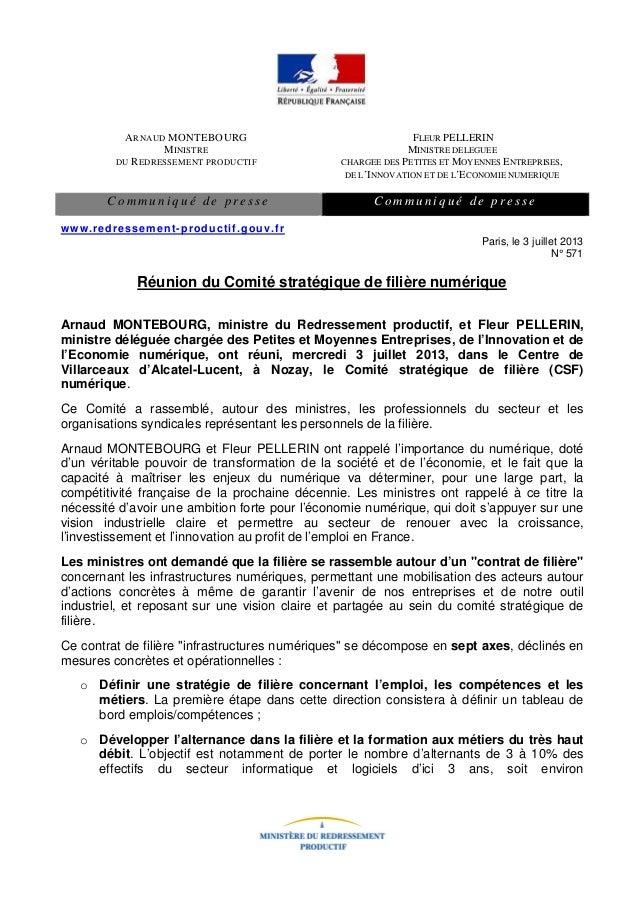 Communiqué de presse du Comité stratégique de filière numérique