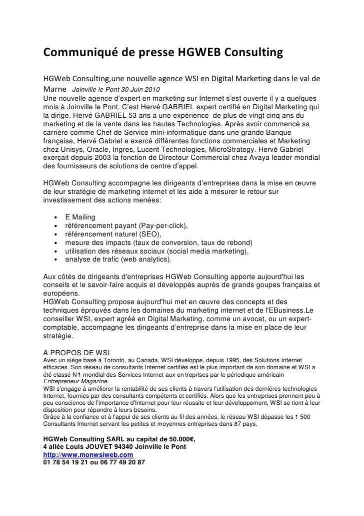 Communiqué de presse HGWEB Consulting HGWeb Consulting,une nouvelle agence WSI en Digital Marketing dans le val de Marne J...