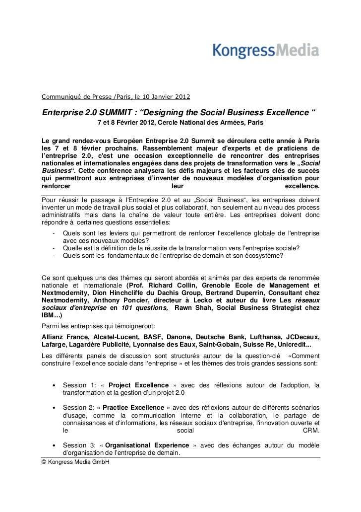 """Communiqué de Presse /Paris, le 10 Janvier 2012Enterprise 2.0 SUMMIT : """"Designing the Social Business Excellence """"        ..."""