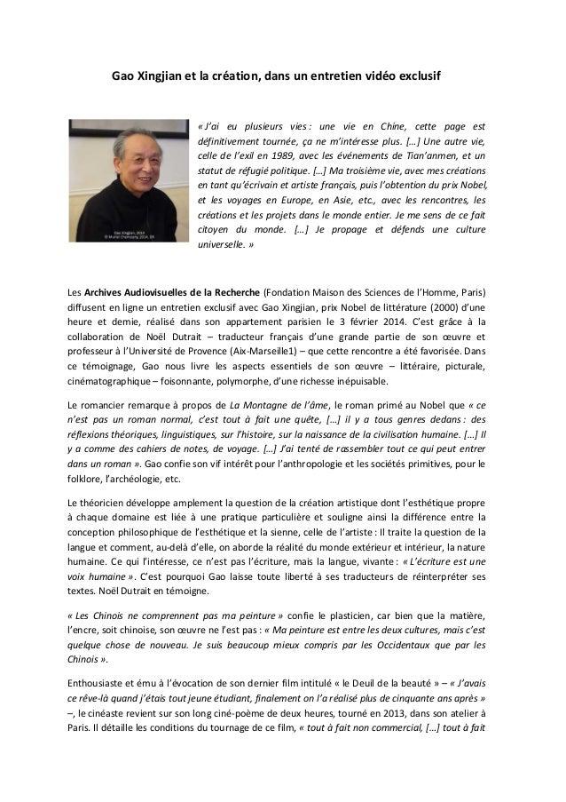 Communiqué de presse : Gao Xingjian (prix Nobel de littérature, 2000) dans un entretien vidéo sur la création