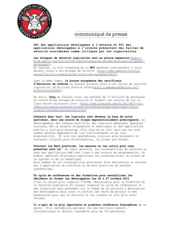Communiqué de presse AppSec Forum 2011