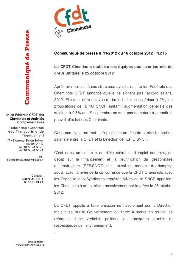 Communiqué de Presse                                          Communiqué de presse n° 11-2012 du 16 octobre 2012 16h15    ...