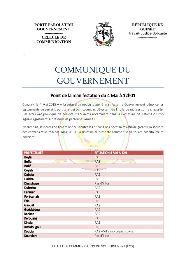 CELLULE DE COMMUNICATION DU GOUVERNEMENT (CCG) PORTE PAROLAT DU GOUVERNEMENT ---------------- CELLULE DE COMMUNICATION RÉP...