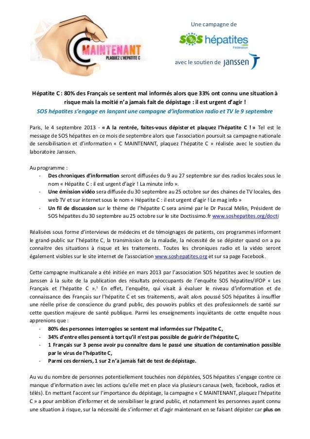 avec le soutien de Une campagne de Hépatite C : 80% des Français se sentent mal informés alors que 33% ont connu une situa...