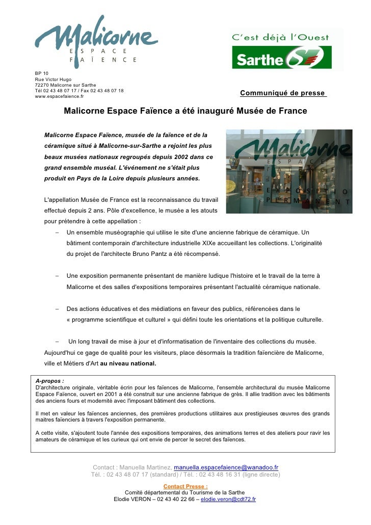 BP 10 Rue Victor Hugo 72270 Malicorne sur Sarthe Tél 02 43 48 07 17 / Fax 02 43 48 07 18 www.espacefaience.fr             ...