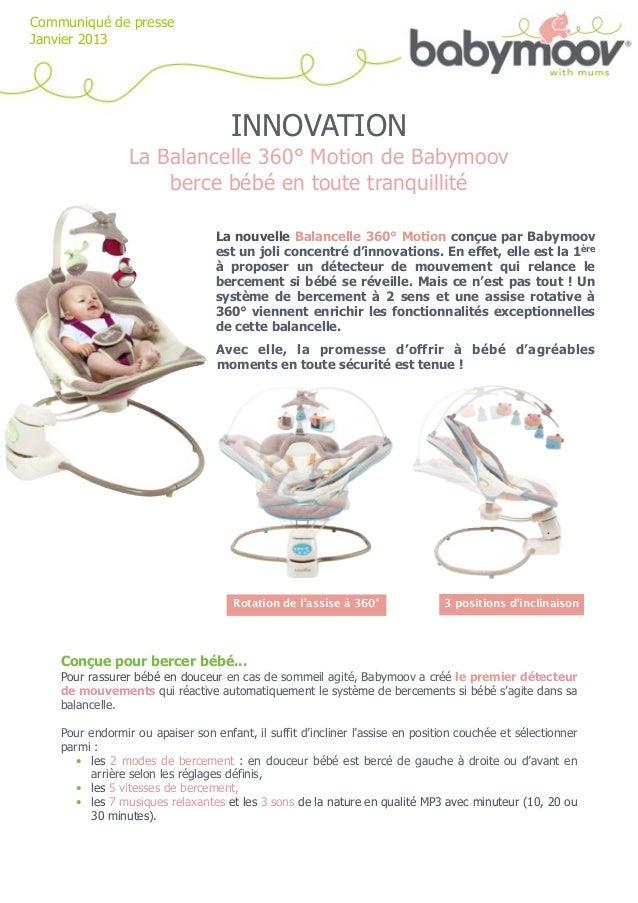 Communiqué de presseJanvier 2013                                     INNOVATION                 La Balancelle 360° Motion ...