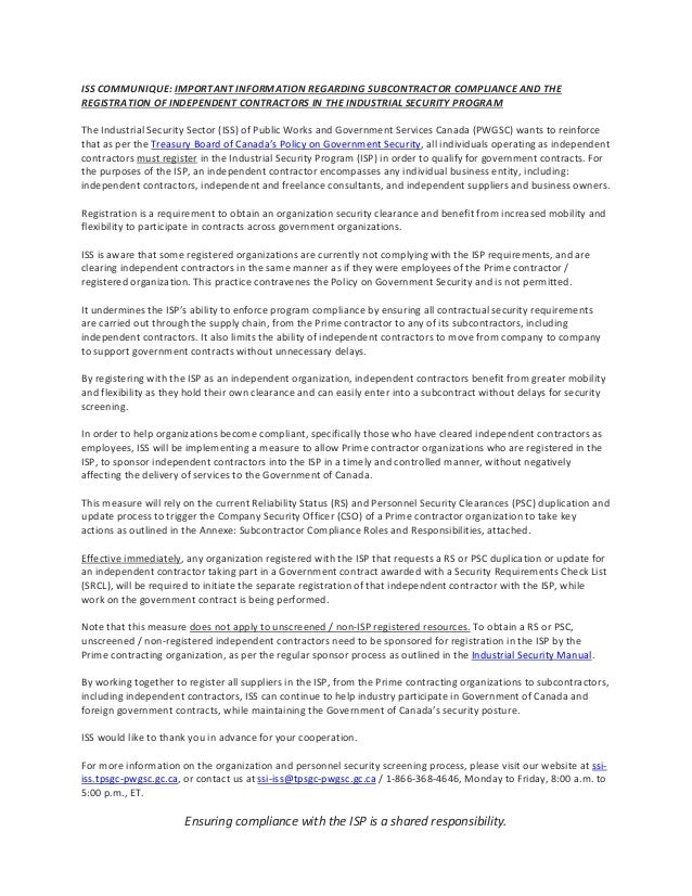 ISS COMMUNIQUE: IMPORTANT INFORMATION REGARDING SUBCONTRACTOR COMPLIANCE AND THE REGISTRATION OF INDEPENDENT CONTRACTORS I...