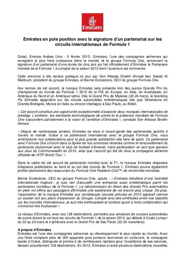 Communiqué de presse   emirates en pole position avec la signature d'un partenariat sur les circuits internationaux de form