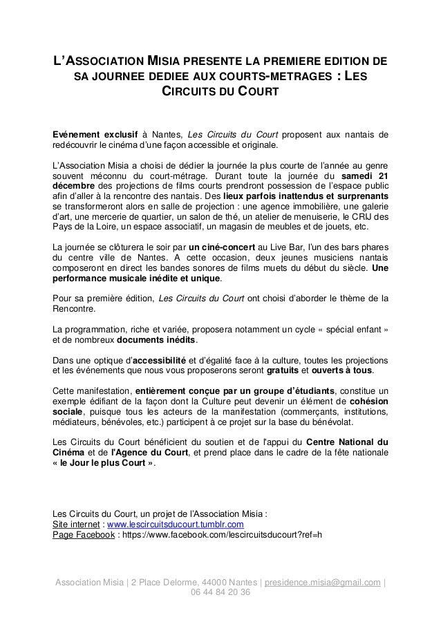 L'ASSOCIATION MISIA PRESENTE LA PREMIERE EDITION DE SA JOURNEE DEDIEE AUX COURTS-METRAGES : LES CIRCUITS DU COURT Evénemen...