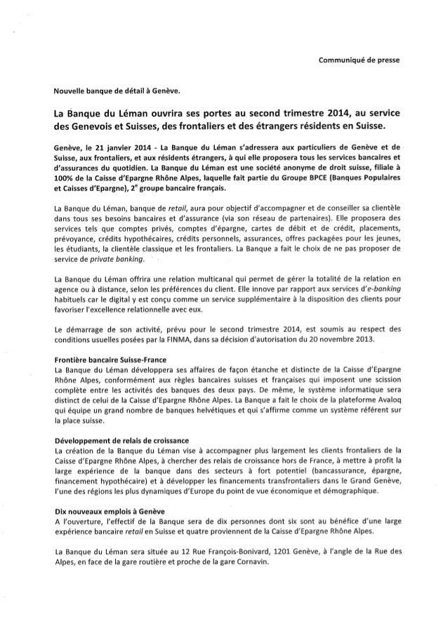 Banque du Léman - Communiqué de presse