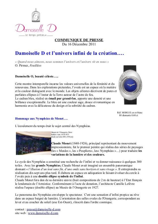 COMMUNIQUE DE PRESSE Du 16 Décembre 2011 Damoiselle D et l'univers infini de la création…. « Quand nous aimons, nous somme...