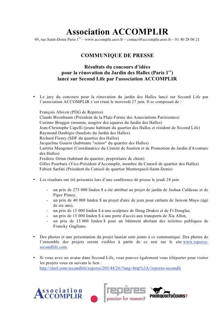 POURQUOI TU COURS et jardin des halles (Communique De Presse Resultats)