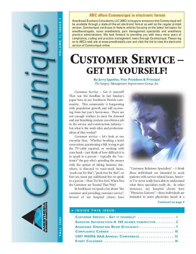 Anesthesia Business Consultants: Communique fall06