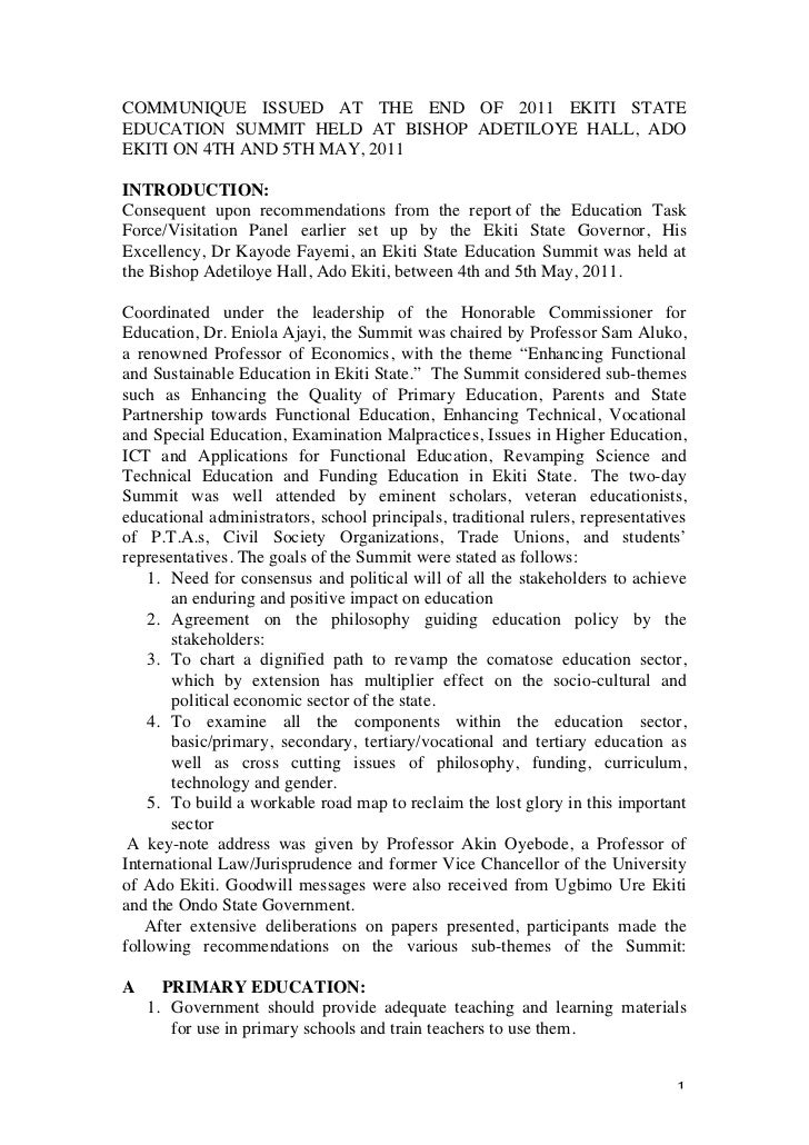 COMMUNIQUE ISSUED AT THE END OF 2011 EKITI STATEEDUCATION SUMMIT HELD AT BISHOP ADETILOYE HALL, ADOEKITI ON 4TH AND 5TH MA...