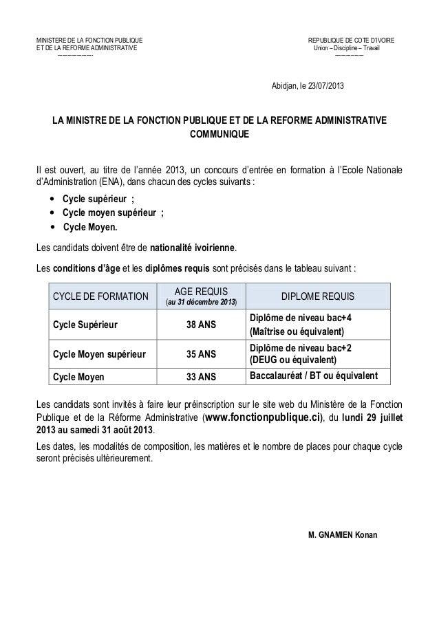 MINISTERE DE LA FONCTION PUBLIQUE REPUBLIQUE DE COTE D'IVOIRE ET DE LA REFORME ADMINISTRATIVE Union – Discipline – Travail...