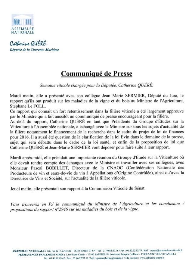 Communiqué presse viticulture