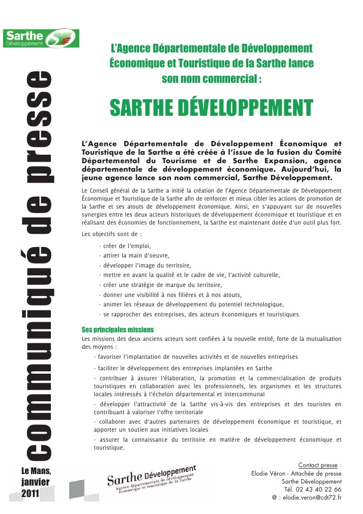 L'Agence Départementale de Développement                                   Économique et Touristique de la Sarthe lance   ...