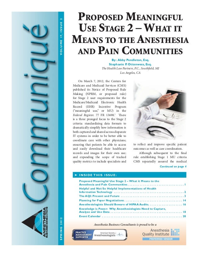 Anesthesia Business Consultants: Communique spring12