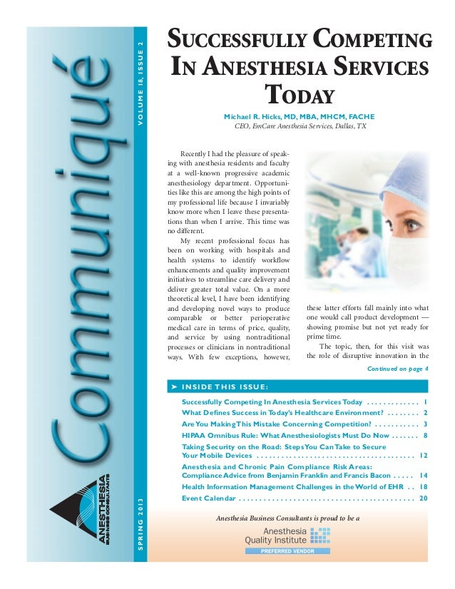 Anesthesia Business Consultants: Communique spring 2013