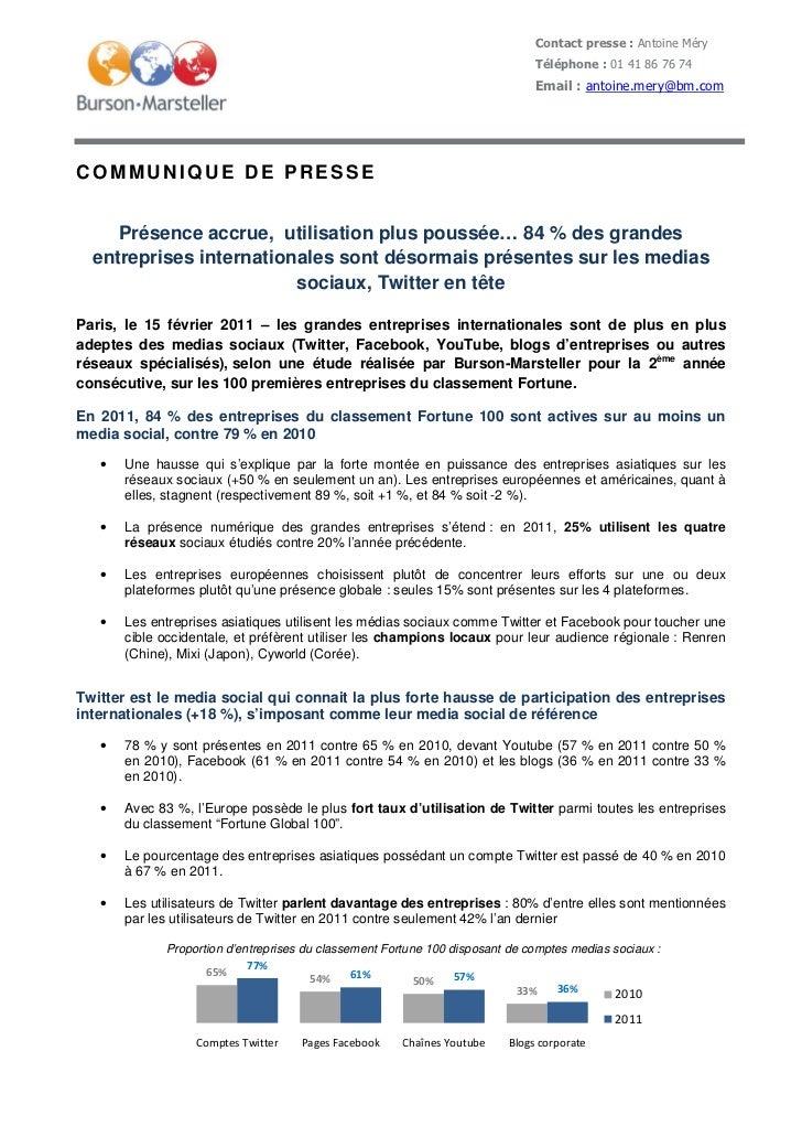 Contact presse : Antoine Méry                                                                              Téléphone : 01 ...