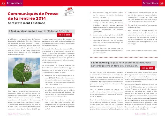 22 23Perspectives Perspectives Bulletin SNJMG • Novembre 2014 Bulletin SNJMG • Novembre 2014 Communiqués de Presse de la r...