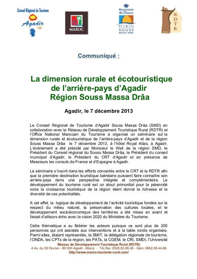 Communiqué :  La dimension rurale et écotouristique de l'arrière-pays d'Agadir Région Souss Massa Drâa Agadir, le 7 déc...