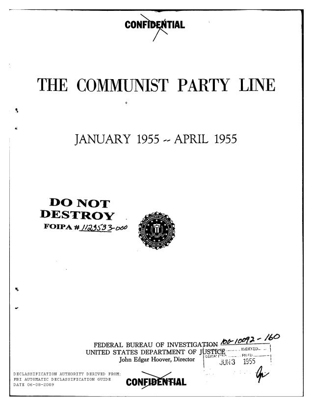 Communist party line   fbi file series in 25 parts - vol. (1)