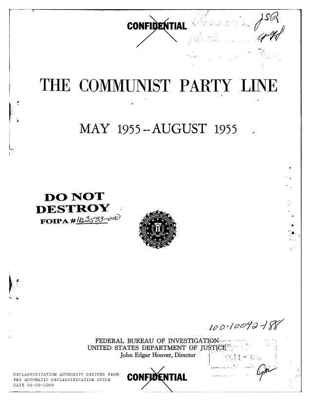 Communist party line   fbi file series in 25 parts - vol. (2)