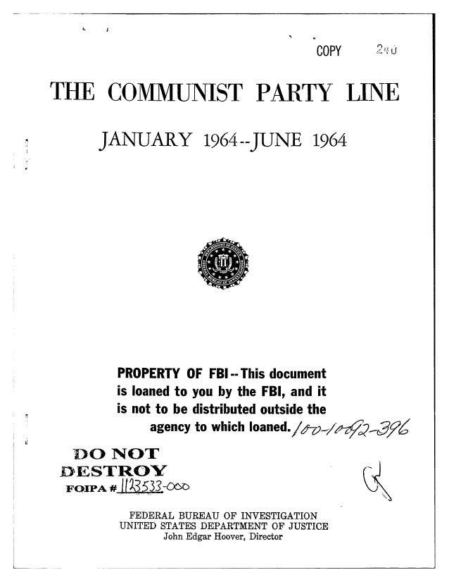 Communist party line   fbi file series in 25 parts - vol. (21)