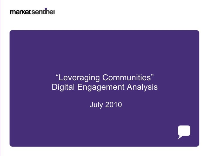 """ Leveraging Communities"" Digital Engagement Analysis July 2010"